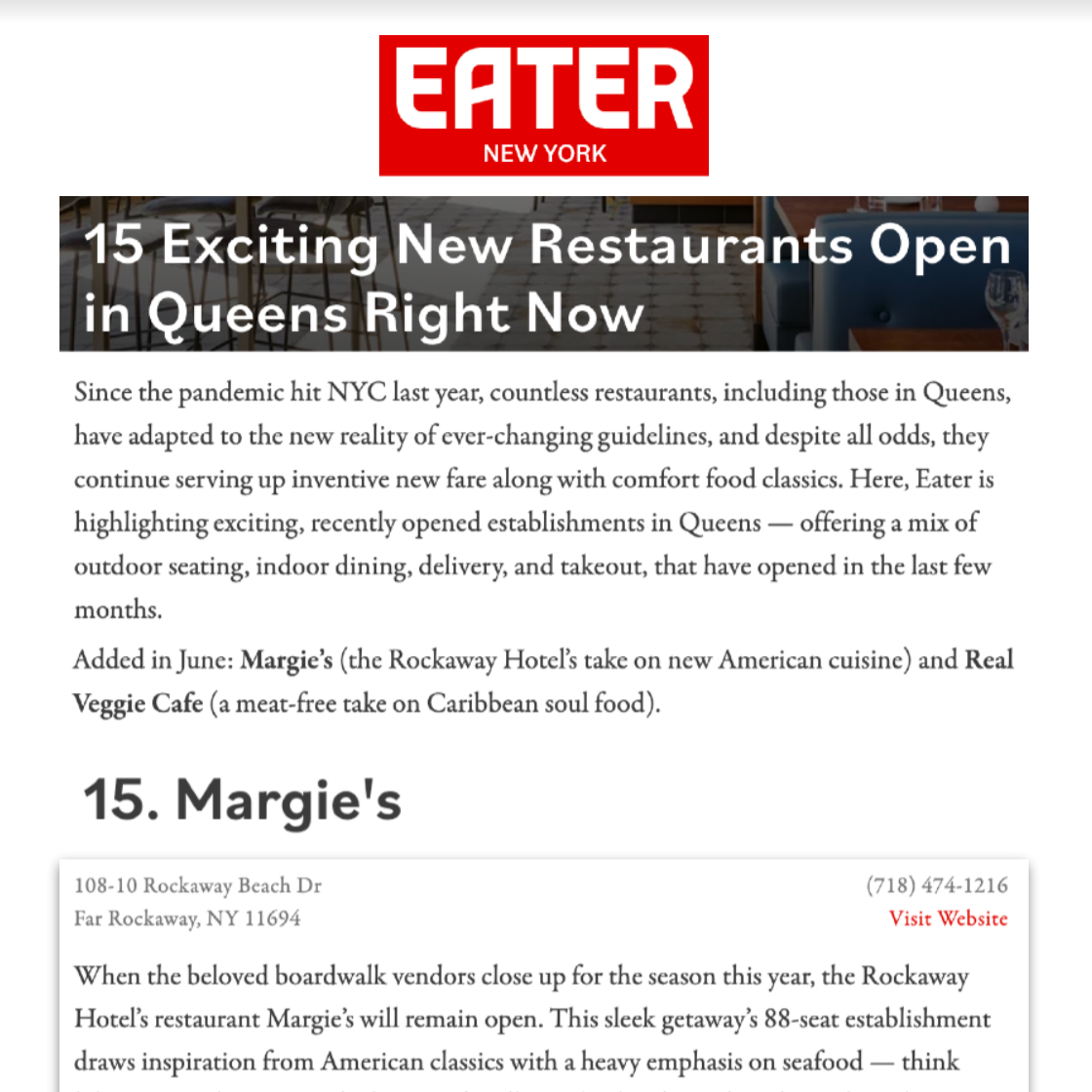 Article about The Rockaway Hotel in Eater New York