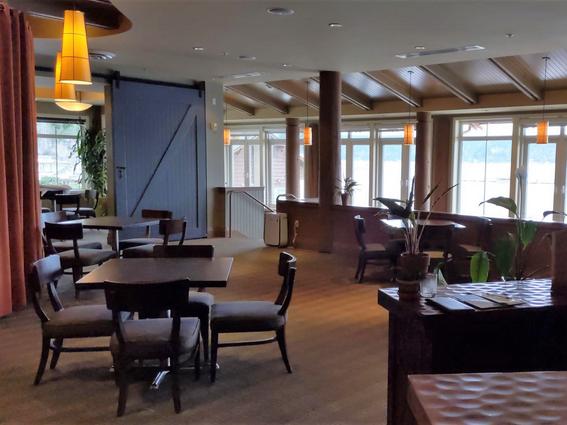 Arranged restaurant dining area at Alderbrook Resort & Spa