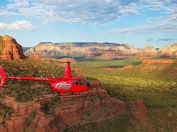 The guidance of the helicopter through the landscape