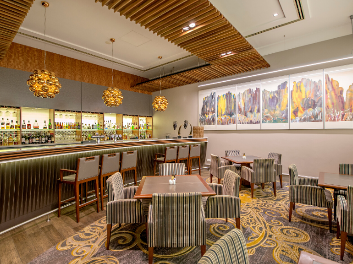 A view of stylish cocktail bar at the Duxton Hotel Perth
