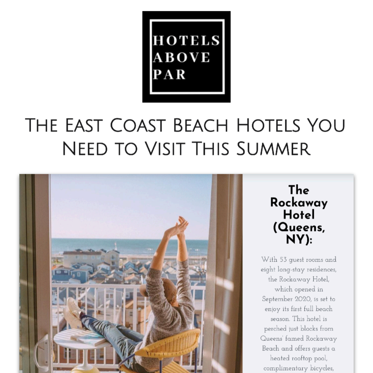 Article about The Rockaway Hotel in Hotels Above Par