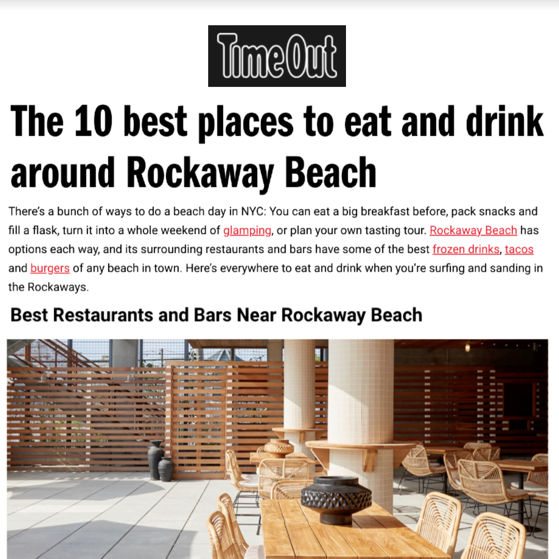 Article about Rockaway Hotel in  Timeout by Amber Sutherland