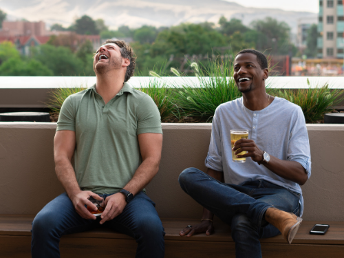 two men laughing