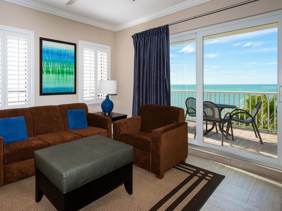 Living room in Two Bedroom Suite at Shephard's Beach Resort