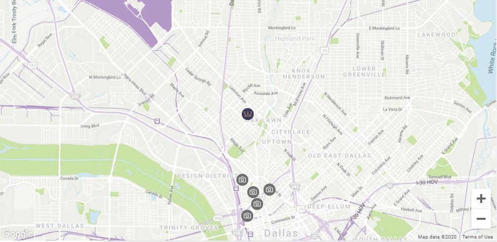 Map location Warwick Melrose Dallas