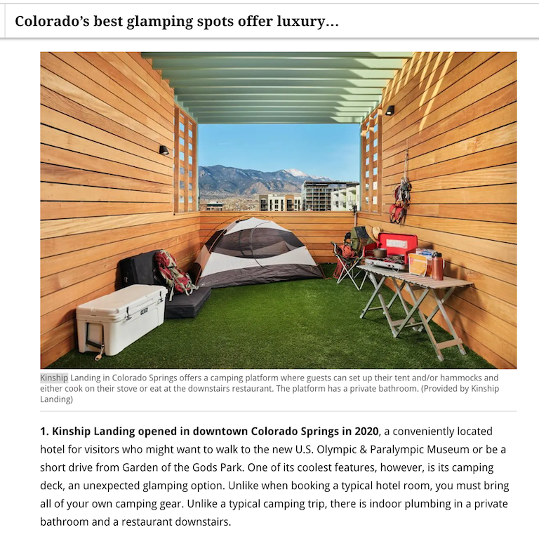 Camping tent in Camp Deck with description at Kinship Landing