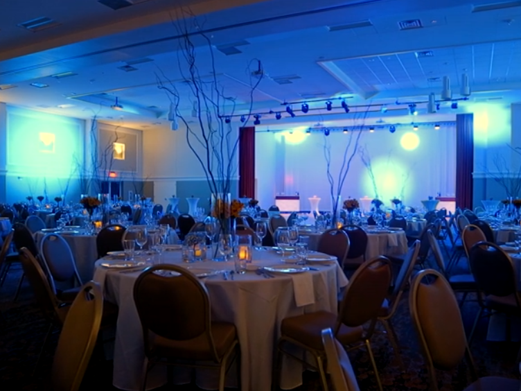 chairs and tables in a large room