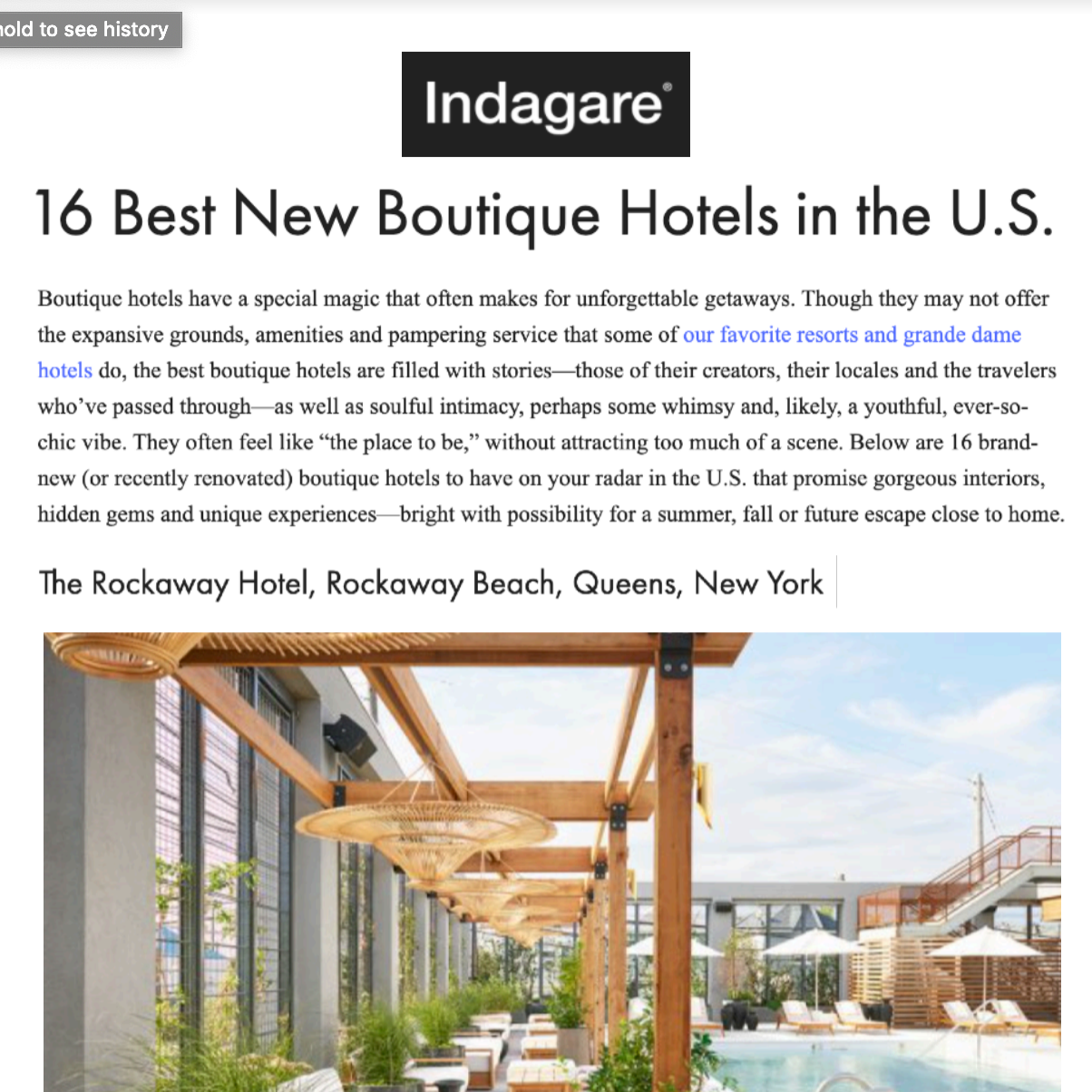Article about The Rockaway Hotel in Indagare