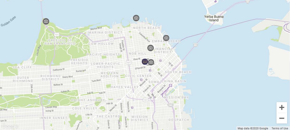 Map location Warwick San Francisco