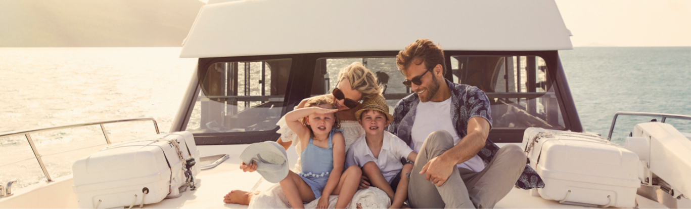 Family on boat at Daydream Island Resort