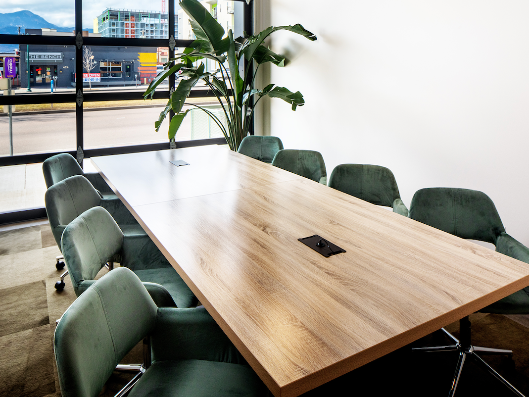 Closeup of Table set up in meeting room at Kinship Landing